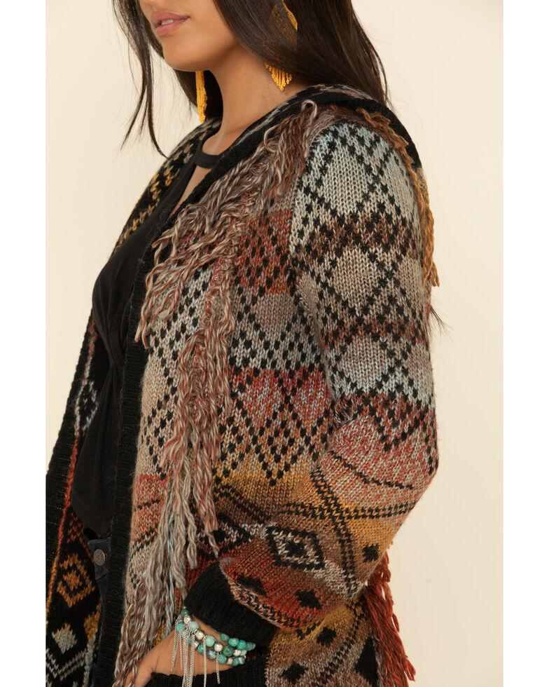 Idyllwind Women's Sundance Hooded Fringe Cardigan, Grey, hi-res