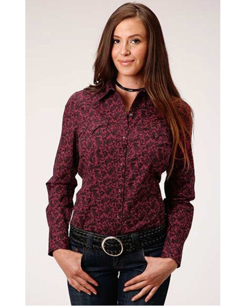 West Made Women's Wine Burgundy Paisley Long Sleeve Western Shirt  , Burgundy, hi-res