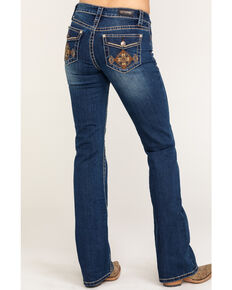 Shyanne Women's Dark Wash Aztec Mock Flap Bootcut Jeans, Blue, hi-res