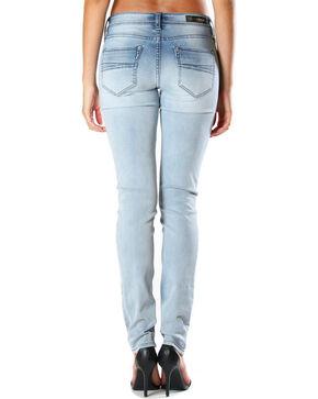 Grace in LA Women's Faded Moto Skinny Jeans , Light/pastel Blue, hi-res