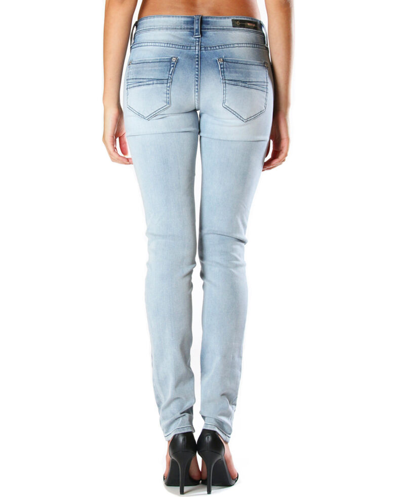 Grace in LA Women's Faded Moto Skinny Jeans , Light/pastel Blue, hi-res