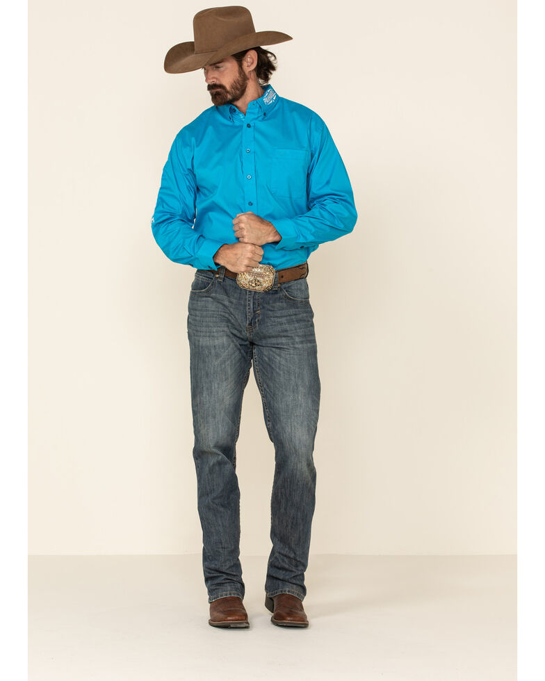 Panhandle Select Men's Solid Embroidered Stretch Poplin Long Sleeve Western Shirt , Blue, hi-res