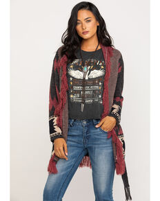 Miss Me Women's Burgundy Aztec Belted Fringe Cardigan , Charcoal, hi-res