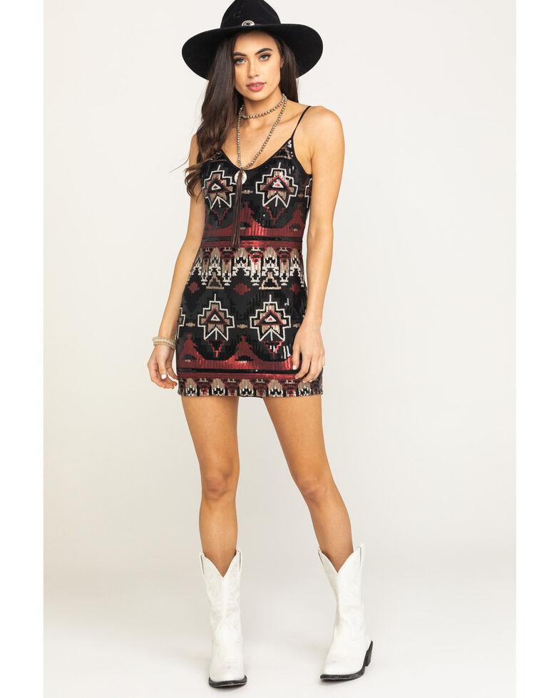 Shyanne Women's Black Aztec Sequin Slip Dress, Black, hi-res