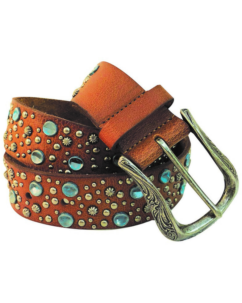 Roper Women's Leather Turquoise Nail Head Buckle Belt , Brown, hi-res