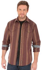 Wrangler Retro Men's Vertical Striped Long Sleeve Snap Shirt, Brown, hi-res