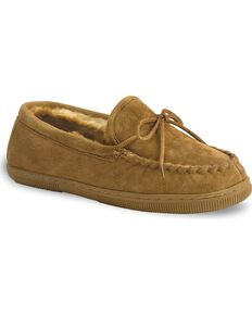 0c55fc0a919337 Chestnut Men s Leather Moccasin Slippers