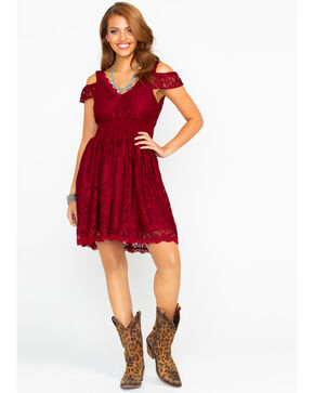 Shyanne Women's Lace Cold Shoulder Fit Dress , Burgundy, hi-res