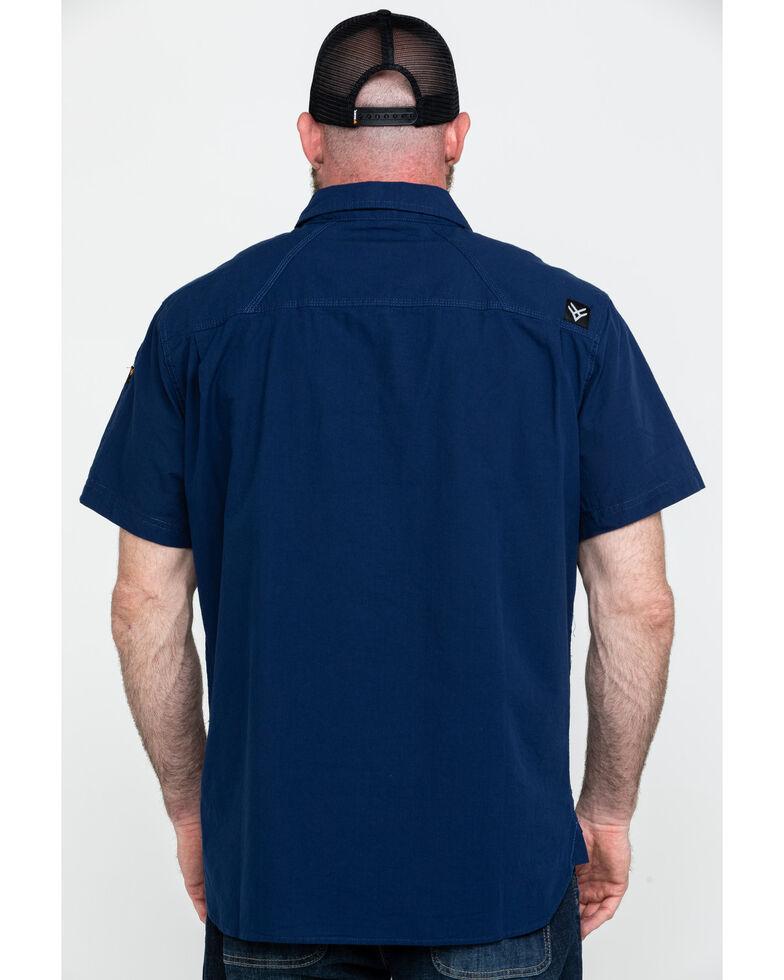 Hawx Men's Solid Yarn Dye Two Pocket Short Sleeve Work Shirt , Navy, hi-res