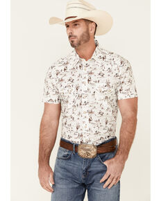 Dale Brisby Men's Off-White Desert Scene Print Short Sleeve Snap Western Shirt , Off White, hi-res