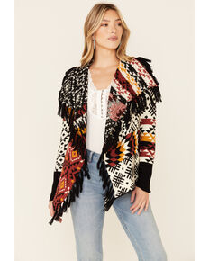 Idyllwind Women's Chili Aztec Print Patched Up Cardigan , Chilli, hi-res