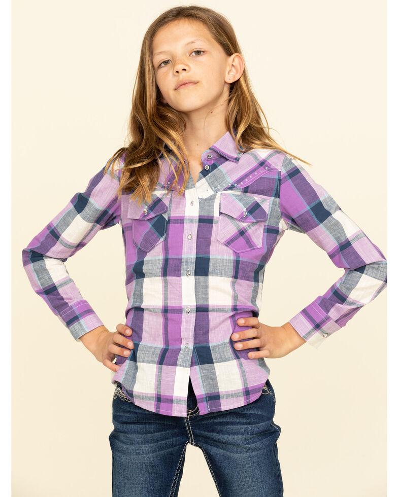Shyanne Girls' Purple Plaid Long Sleeve Shirt, Purple, hi-res
