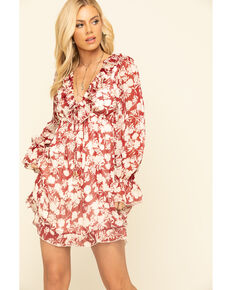 By Together Women's Rust Ruffled Long Sleeve Dress, Rust Copper, hi-res