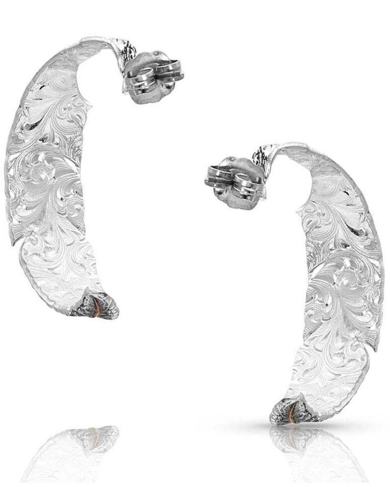 Montana Silversmiths Women's Wind Dancer Feather Hoop Earrings, Silver, hi-res