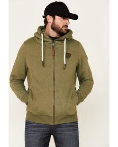 Wanakome Men's Zeus Solid Olive French Terry Zip-Front Hooded Sweatshirt , Olive, hi-res