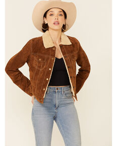 Scully Women's Brown Sherpa Lined Snap Front Trucker Jacket , Brown, hi-res