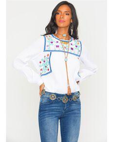 300297228e5c45 Women s Embroidered Floral   Llama Long Sleeve Top