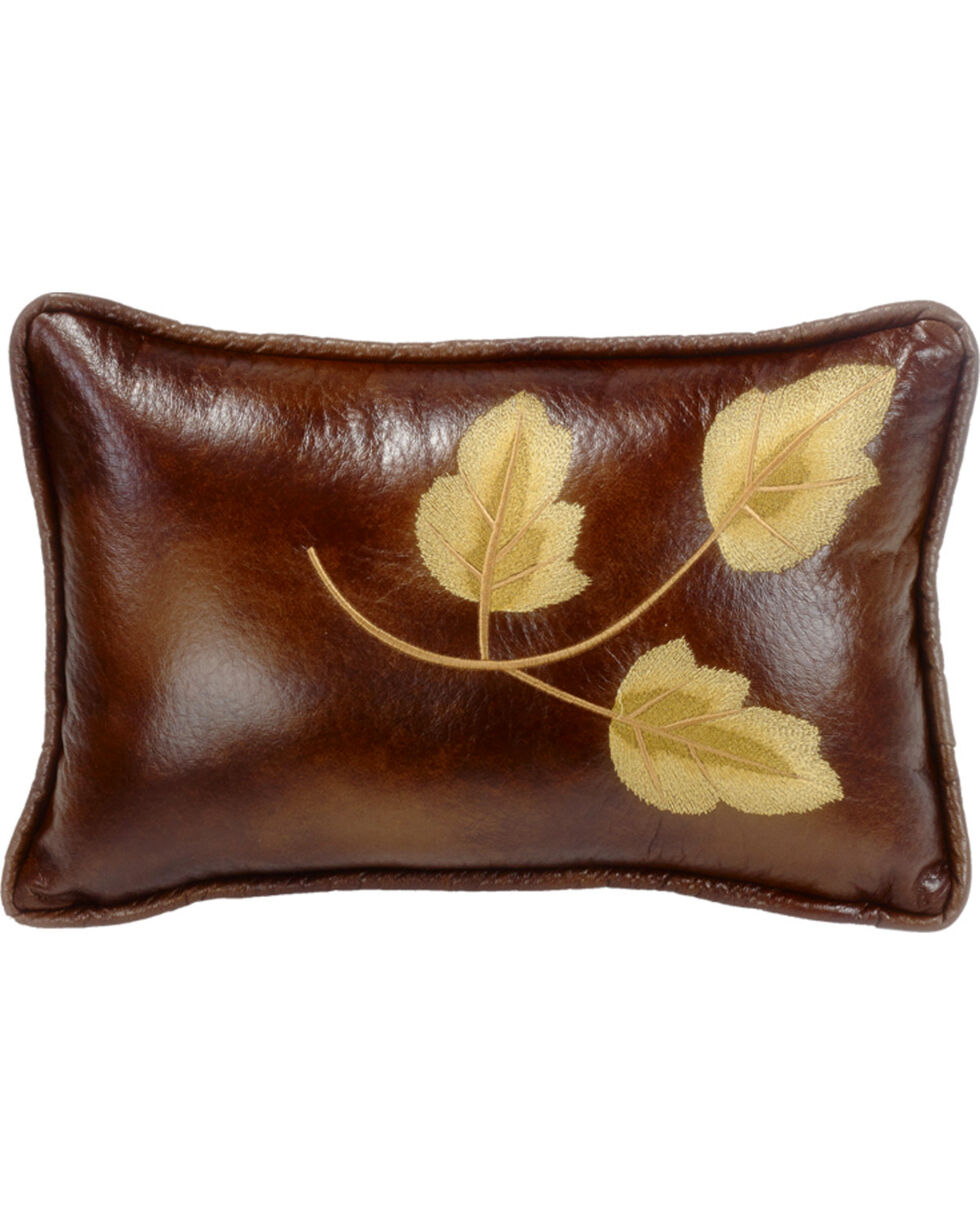 HiEnd Accents Highland Lodge Embroidered Leaf Pillow, Multi, hi-res
