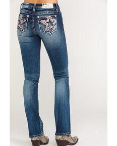Miss Me Women's Dark Wash Flag Bootcut Jeans, Blue, hi-res