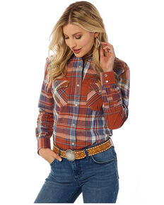 Wrangler Women's Rust Plaid Long Sleeve Western Shirt , Rust Copper, hi-res