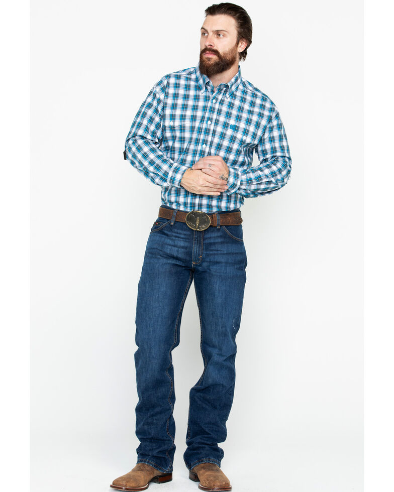 Cinch Men's Small Plaid Logo Pocket Long Sleeve Western Shirt , Blue, hi-res