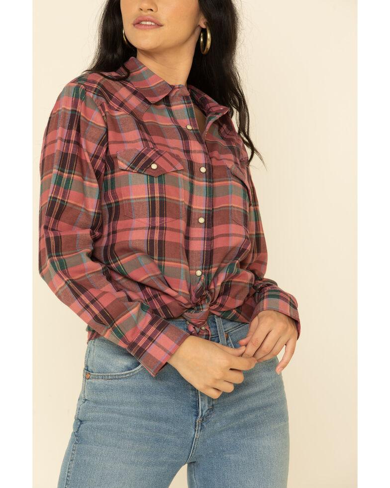 Wrangler Women's Pink Plaid Long Sleeve Boyfriend Flannel Shirt , Pink, hi-res