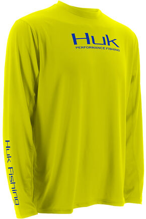Huk Performance Fishing ICON Long Sleeve T-Shirt , Yellow, hi-res