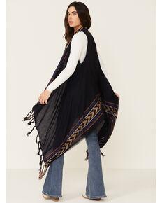 Shyanne Women's Woven Wine Fringe Shawl Vest, Grape, hi-res