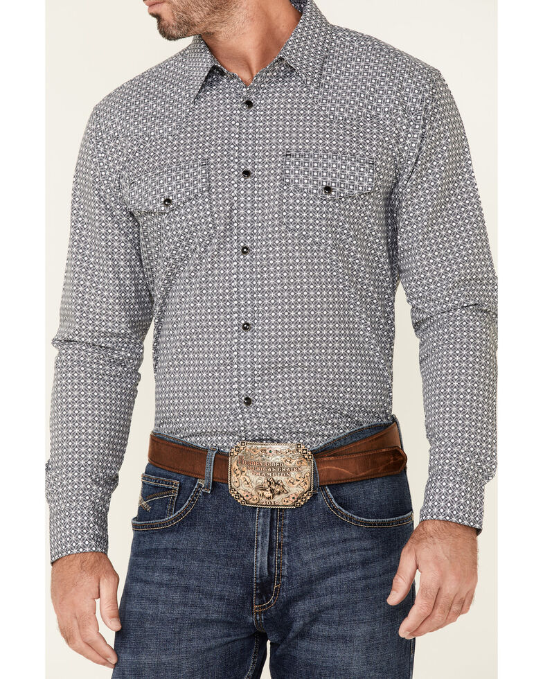 Gibson Men's Lilipad Geo Print Long Sleeve Snap Western Shirt , Black, hi-res