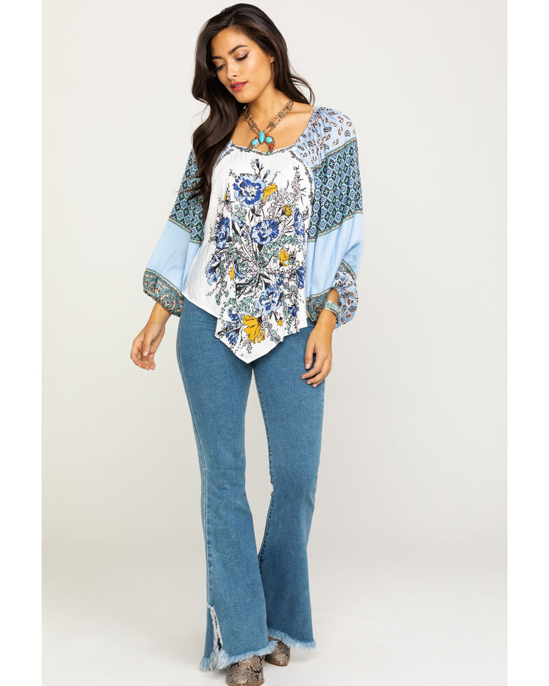 Free People Women's Positano Printed Off The Shoulder Blouse, Ivory, hi-res