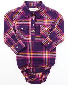 Shyanne Infant Girls' Dark Purple Long Sleeve Snap Flannel Onesie , Purple, hi-res