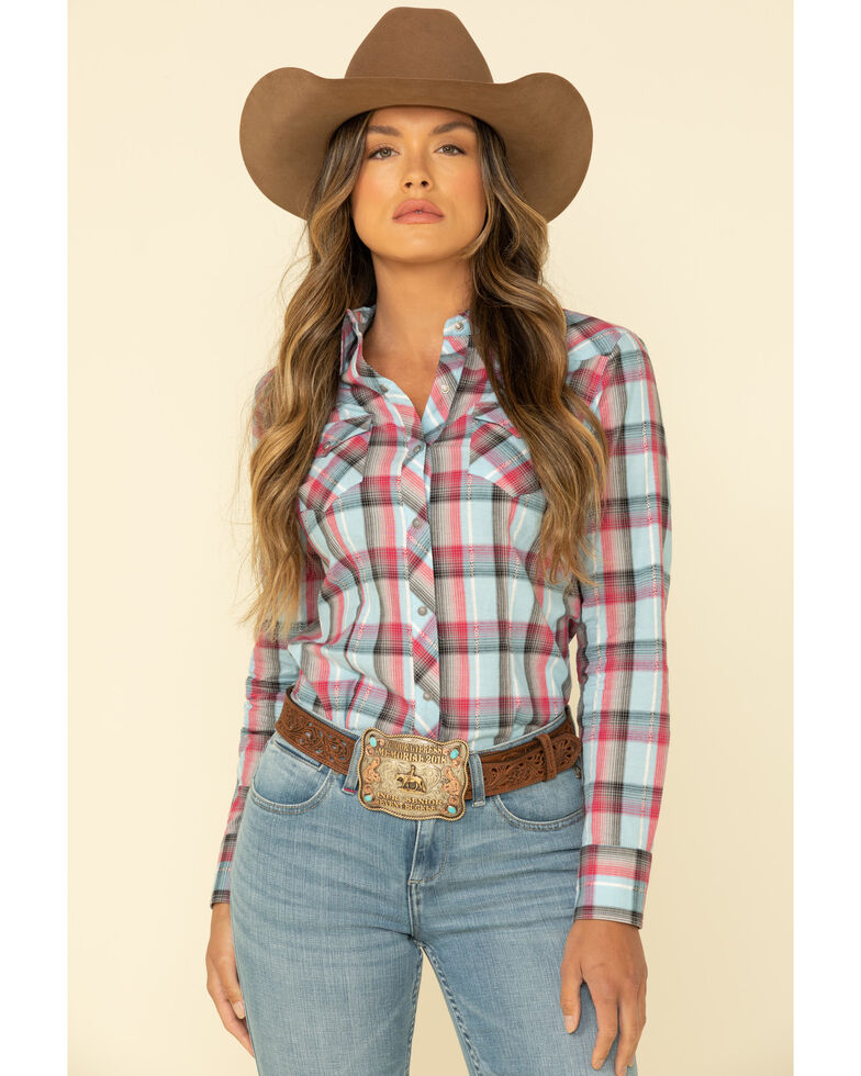 West Made Women's Multi Blue Plaid Long Sleeve Western Shirt , Blue, hi-res