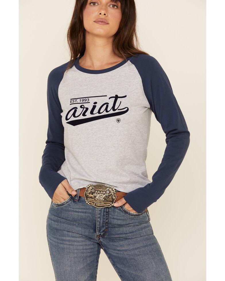 Ariat Women's Grey Varsity Logo Long Sleeve Raglan Tee, Grey, hi-res