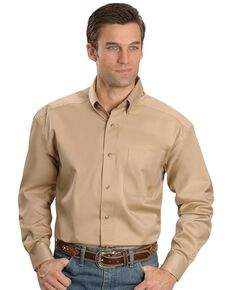 Ariat Men's Khaki Solid Twill Long Sleeve Western Shirt , Khaki, hi-res