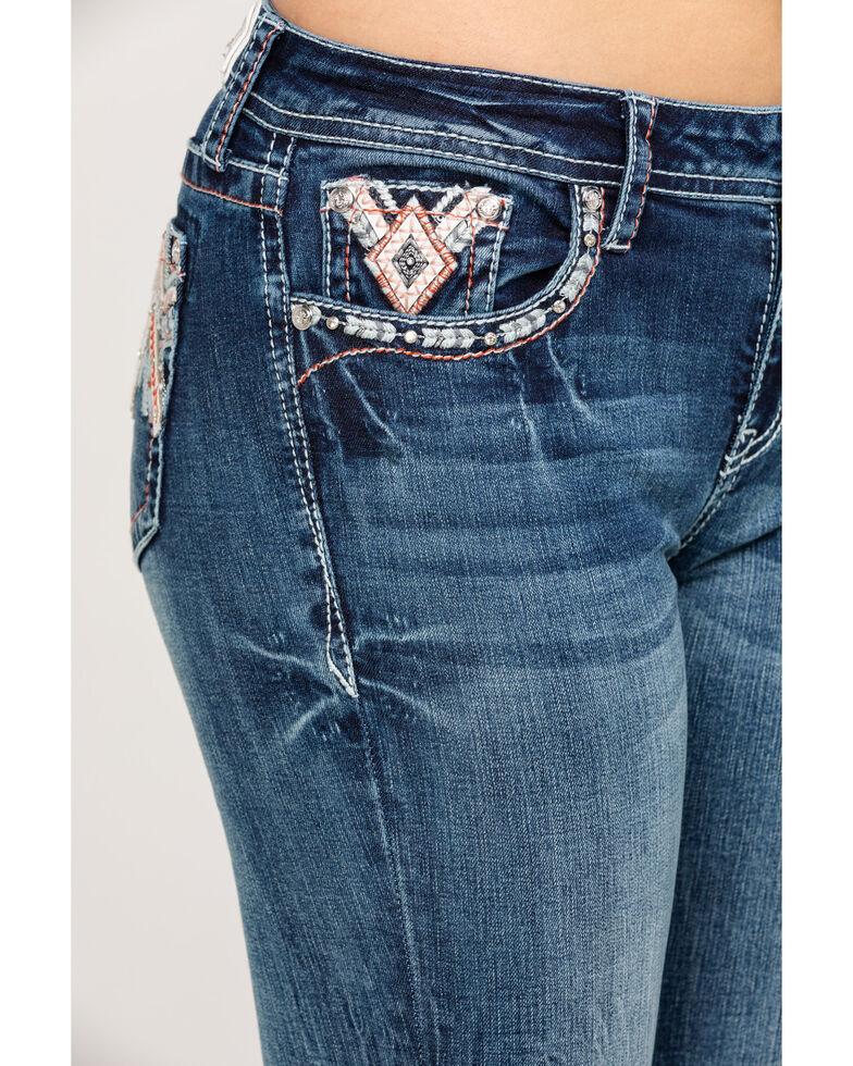 Grace in LA Women's Medium Mid-Rise Aztec Pocket  Bootcut Jeans, Blue, hi-res