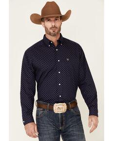 Ariat Men's Wrinkle Free Leon Geo Print Long Sleeve Button-Down Western Shirt, Navy, hi-res