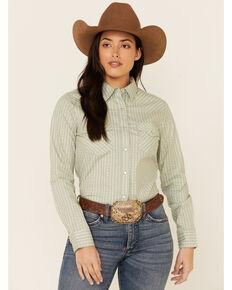Wrangler Women's Green Stripe Long Sleeve Snap Western Core Shirt , Green, hi-res