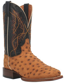 Dan Post Men's Saddle Quilled Western Boots - Wide Square Toe, Tan, hi-res