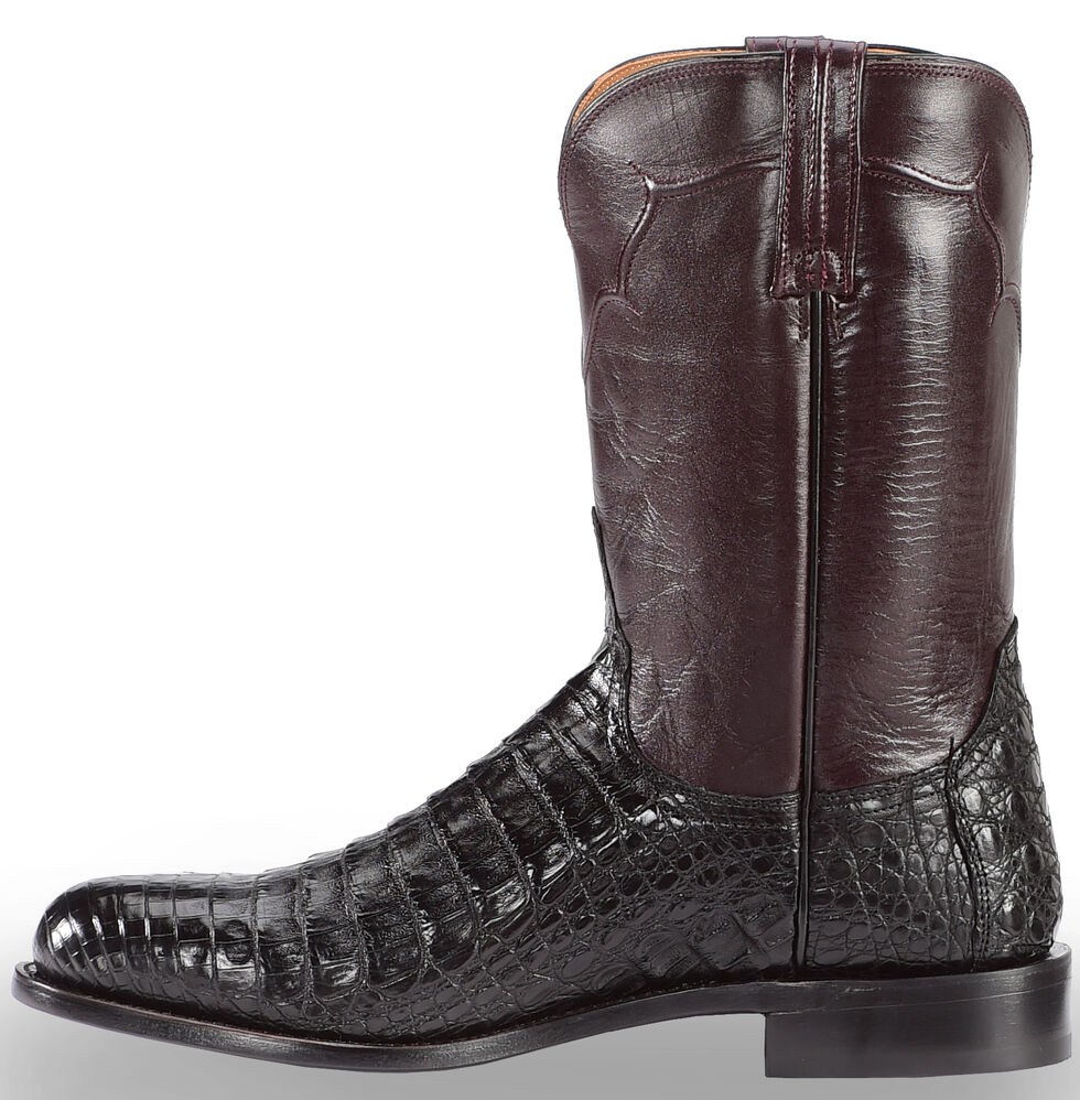 Lucchese Handmade Dustin Belly Caiman Roper Boots - Round Toe , Black, hi-res