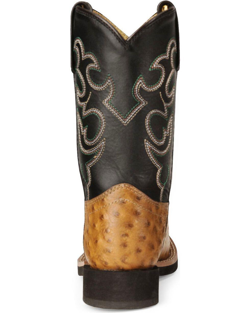 Smoky Mountain Youth Boys' Shawnee Ostrich Print Cowboy Boots, Cognac, hi-res