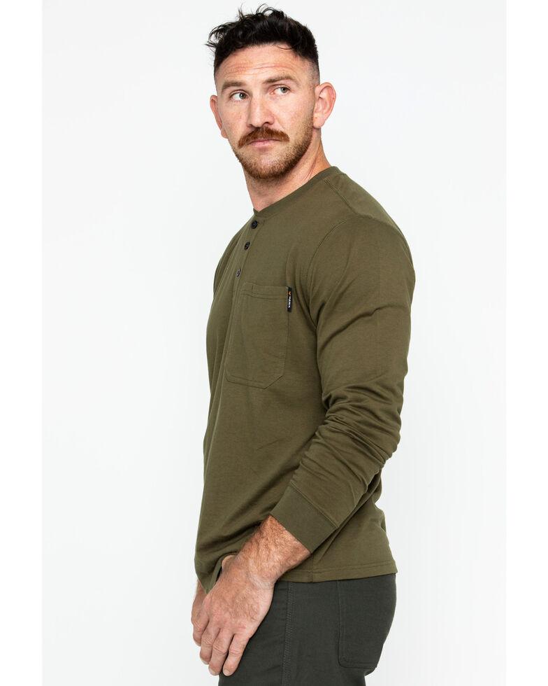 Hawx Men's Pocket Henley Long Sleeve Work Shirt , Olive, hi-res