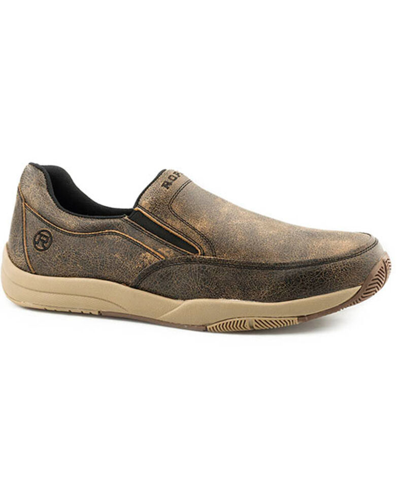 Roper Men's Chuck Slip-On Shoes - Round Toe, Brown, hi-res