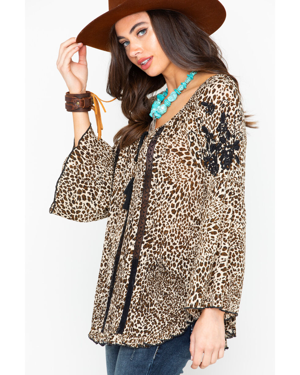 Bila Women's Leopard Peasant Embroidered Tassel Long Sleeve Top, Leopard, hi-res