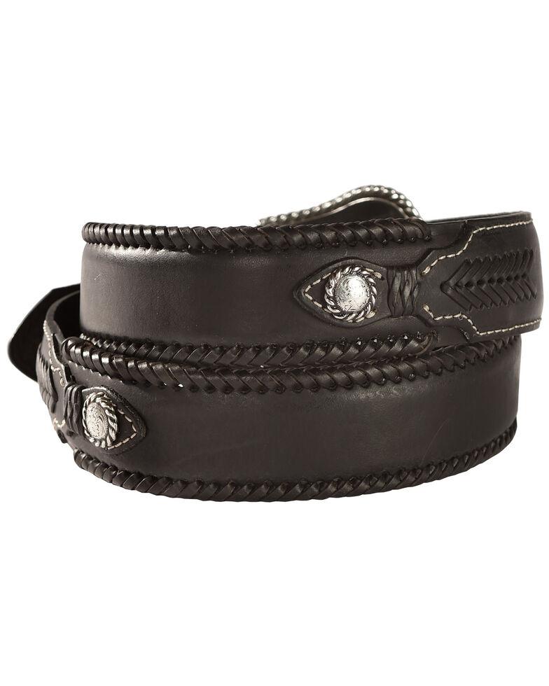 Nocona Top Hand Lace Edge Concho Western Belt, Black, hi-res
