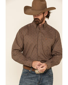 Ariat Men's Omega Medallion Geo Print Long Sleeve Western Shirt , Brown, hi-res