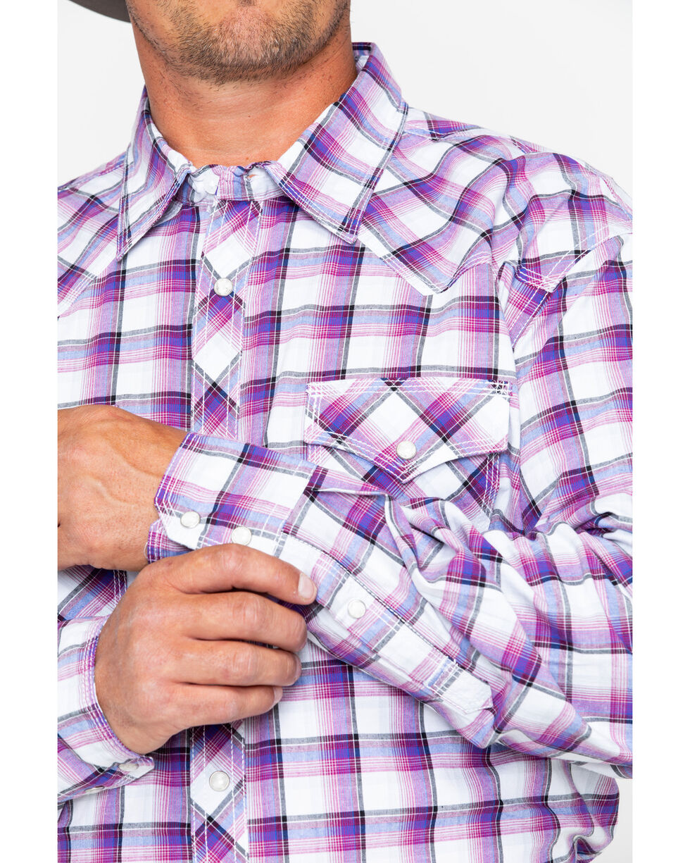 Wrangler 20X Mens' Purple Print Advanced Comfort Competition Long Sleeve Shirt , Purple, hi-res