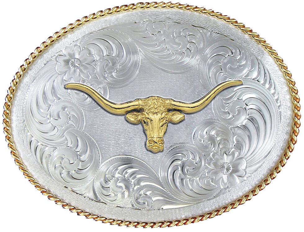 Montana Silversmiths 1350 Series German Silver Longhorn Western Belt Buckle , Multi, hi-res