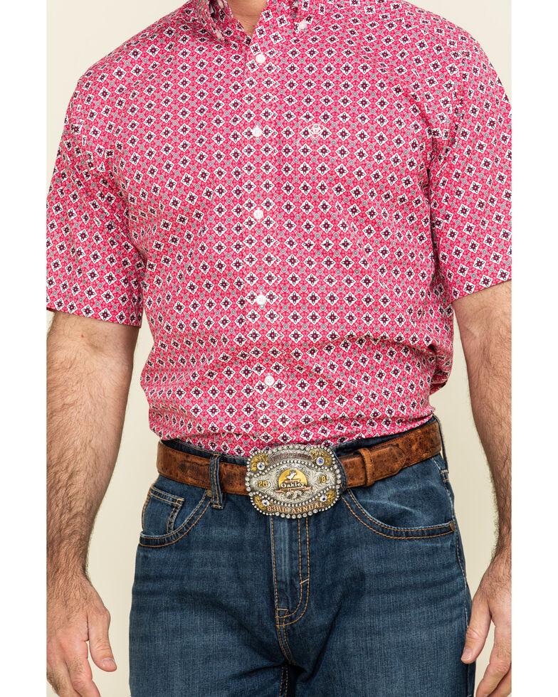Ariat Men's Kaufman Stretch Geo Print Long Sleeve Western Shirt , Red, hi-res
