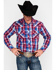 Rock & Roll Cowboy Men's Crinkle Washed Plaid Long Sleeve Western Shirt , Red/white/blue, hi-res