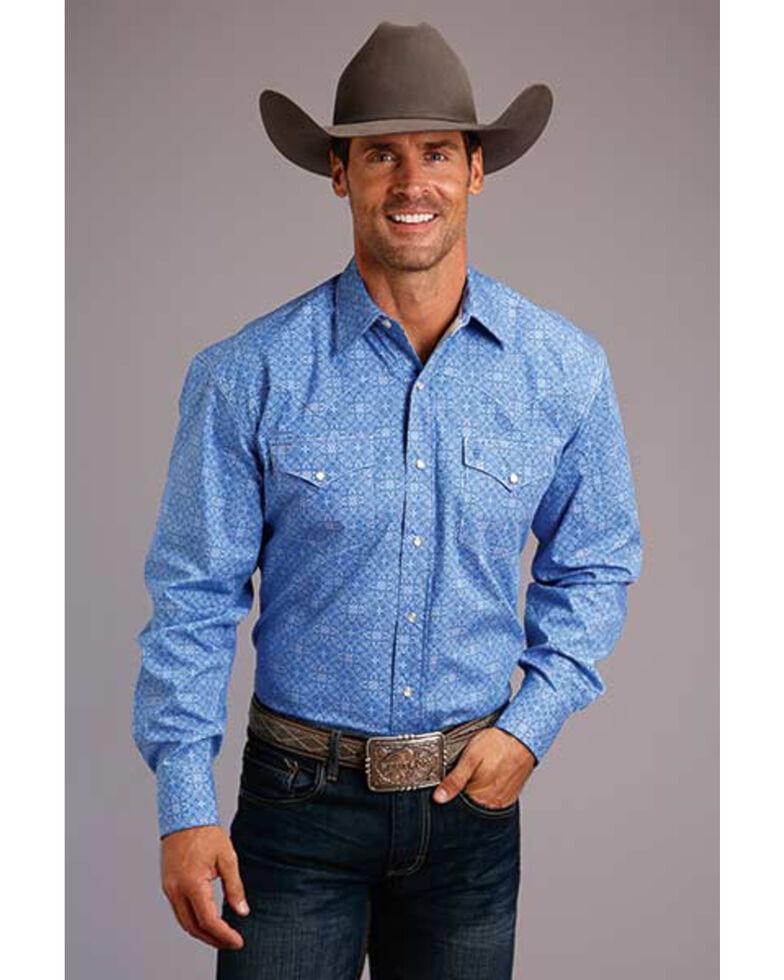 Stetson Men's Blue Filagree Geo Print Long Sleeve Western Shirt , Blue, hi-res